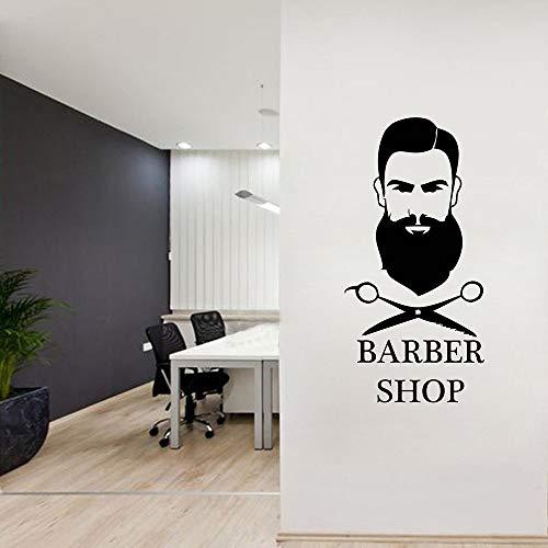 WERWN Salón de Belleza Pegatinas de Pared calcomanías artísticas de Pared diseño de habitación Mural barbería Tijeras Barba Hombre Papel Tapiz
