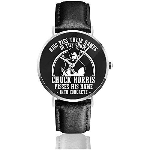 Unisex Chuck Norris Concrete Quote Uhren Quarzlederuhr mit schwarzem Lederband