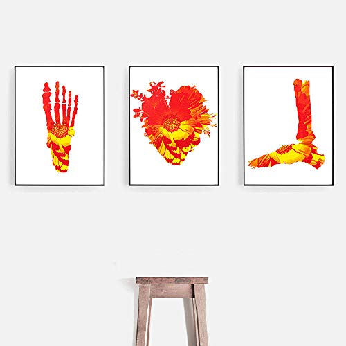 TXTYUMR Flores Rojas Brillantes Lienzo Pintura corazón pie Esperma anatomía impresión decoración Imagen   sin Marco