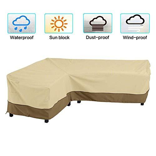 LLVV L-vormige afdekking patio-sofa-meubel-bank-afdekking waterdicht stofdicht 210D tuinhoekbank bank-beschermhoes met opbergtas