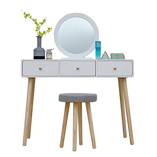 BOJU White 3 Drawers Dressing Table with Mirror Bedroom Modern Small Makeup Vanity Table Plain and Stool Set for Corner Girl Gift