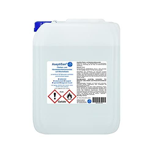 AseptiSan - VAH gelistet - 5 Ltr. Kanister Flächen- und Händedesinfektionsmittel Pharmazentralnummer-16613756 HERRLAN Qualität Made in Germany