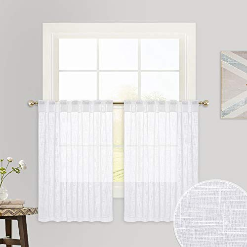 RYB HOME Window Curtain Valances - Linen Textured Fabric Half Window Drapes Cafe Tiers, Small Window Covering for Kitchen Kids Nursery Bathroom, Wide 52 x Long 36 per Panel, 2 Panels, White