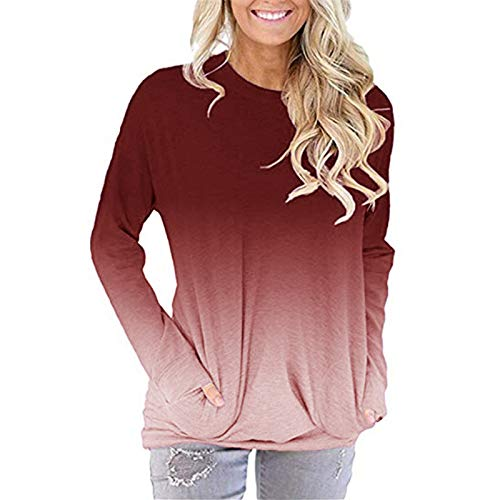 YANFANG Camiseta Manga Larga Adolescente,Camisa Casual Holgada con Bolsillo para Mujer, Blusa Estampada con Cuello Redondo Tops Blusas Sudadera