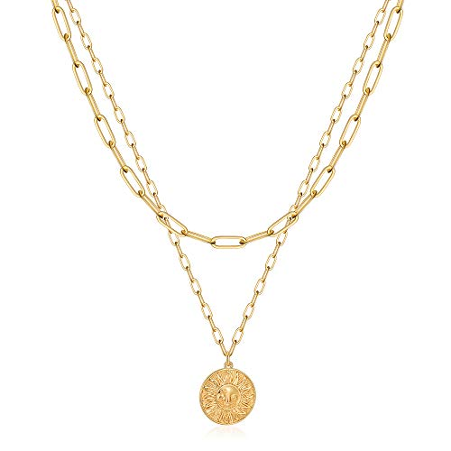 Turandoss Gold Necklaces for Women - 14K Gold Plated Lock Evil Eye Medallion Vintage Coin Necklace Bee Sun Moon Shell Gold Chain Necklace Layered Paperclip Chain Necklaces for Women Jewelry Gifts gold