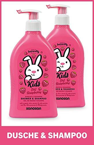 sanosan 2in1 Dusche & Shampoo Himbeere für Kinder - Duschgel & Haarshampoo mit Bio Olivenextrakt & Milchprotein im 2er Pack (2x 400 ml)