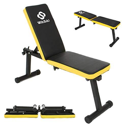 WASAI(ワサイ) トレーニングベンチ フラットベンチ インクラインベンチ【折りたたみ/コンパクト/収納便利】筋トレ 折り畳み ダンベルベンチ(MK600A)