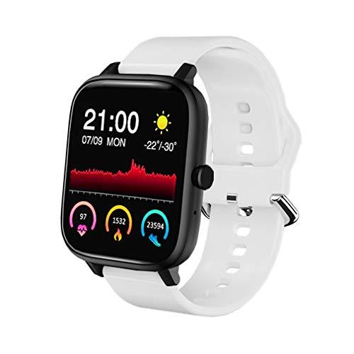 SmartWatch para Hombres y Mujeres, Reloj Inteligente Android, Pulsera Deportiva Inteligente, Reloj de Fitness con Podómetro y Cronómetro, SmartWatch con Función de llamada y Música (blanco)