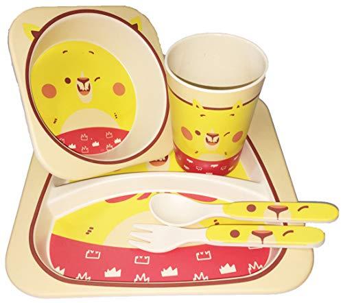 Kit Coffret Repas en Bambou Cartoon Voiture Style Vert Assiette Plateau Compartiment Enfant Bebe Cadeau Lunji