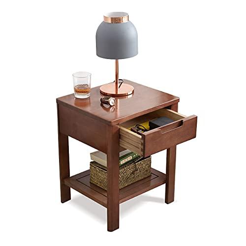 Tafel voor opslag Massief hout nachtkastje met 1-lade, kleine zijtafel met opslag, voor woonkamer slaapkamer smalle kleine ruimtes Stapelbaar