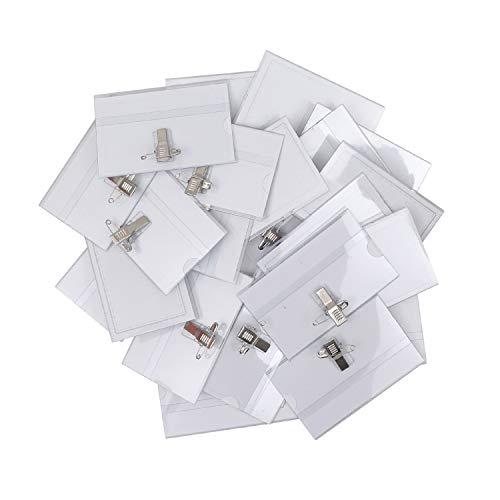 Belle Vous Funda Tarjeta Identificación Horizontal Porta Nombres Clip (Pack de 50) 9 x 6cm – Porta Placas Identificativas PVC Transparente Resistente al Agua - Escuela, Empresa, Conferencia, Visitante