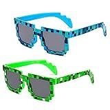 Gafas De Sol Infantiles, 2 pcs Gafas BKJJ, Novedad Gafas, Sol Mosaico Con Forma Cuadrada De Moda Unisex Pixel Gafa, Mosaico 8-Bits Pixelado Gafas De Sol, Gafas de Sol Pixel Polarizadas(Azul,Verde)