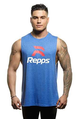 Repps Workout Cut Off Shirts for Men The Perfect Muscle Shirt Heather Blue