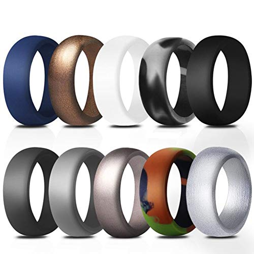 HSUMING Silicone Wedding Ring for Men, 10Pcs Mens Wedding Bands, Best Gift,11