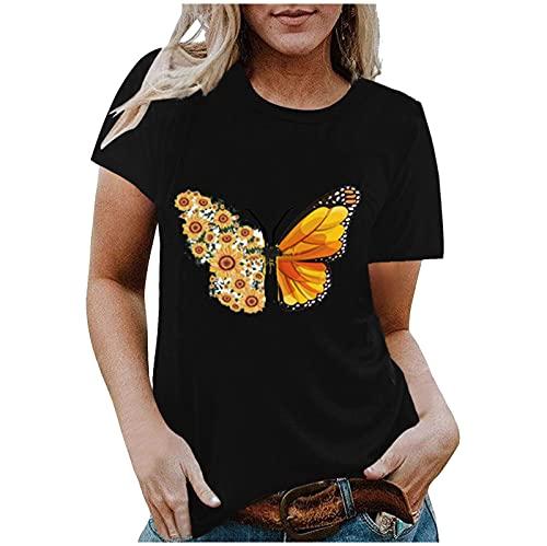 AMhomely Mujeres Camisas y Blusas Venta,Señoras Moda Casual Impresión O-Cuello Suelta Camiseta Manga Corta Pullover Tops Oficina Reino Unido Tamaño Envío 7 Días