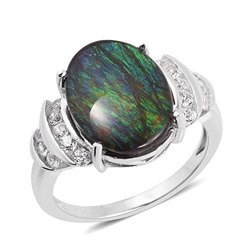 TJC Solitaire 925 Sterling Silver Ring for Women AA Ammolite White Zircon Size M, 6 Ct