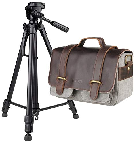 Foto camera tas Vantage Greenwich S buffelleer Retro Design met video-foto statief