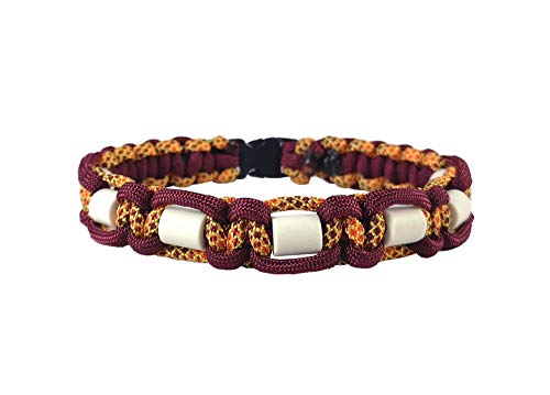 EM-Keramik Halsband für Hunde, mit Name möglich, verschiedene Größen wählbar, original EM-X-Keramik-Pipes, bordeaux/gelb-orange-bordeaux-gemustert