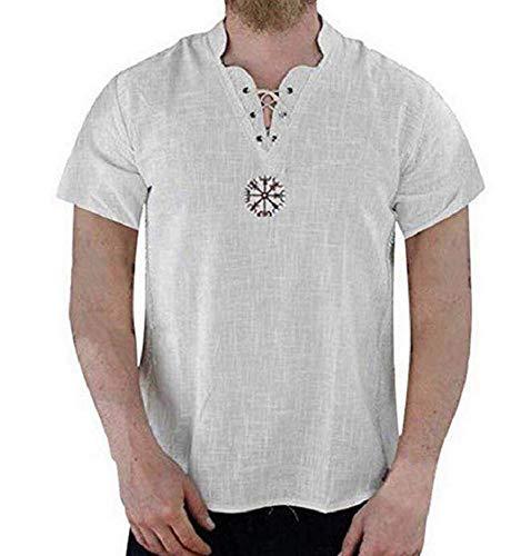 Mens middeleeuwse linnen kostuum tuniek V-hals Viking shirt kostuum piraat hippie opa shirt