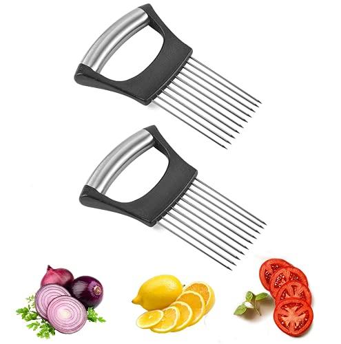Titular De Cebolla patata cortafiambres,Herramientas fijas de corte,Inoxidable Gadget,Herramienta de Cocina Adecuada para el Corte Fijo de Carne, Frutas y Verduras (2)