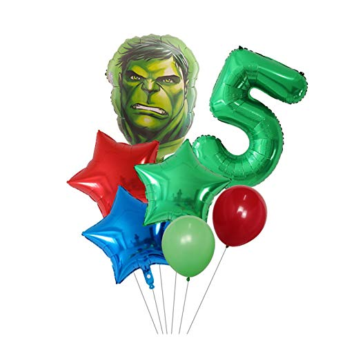 JSJJAES Balloons 7pcs/Set Captain America Hulk Spider Iron Superhero Balloons 30inch Number Globos Birthday Party Decorations Kids Toys 3d (Color : Green number 5 set)