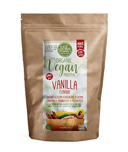 Protéine Vegan Bio - Vanille - 72% Protéines - Certifié Organique - Sans: Allergène, Lactose, OGM, Additifs Artificiels - 500g