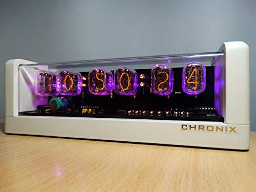CHRONIX Nixie Röhren Uhr mit 6 x IN-12 Röhrenanzeigen & Alarm & Rose Hintergrundbeleuchtung & CNC gefräste gehäuse Weiß Matt Oberfläche