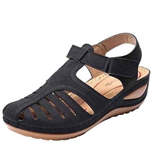 Sandalias de Verano para Mujer Exterior Deportivas de Playa Sandalias Casual Elegante Roma Zapato con Hebilla Ajustable Ahuecar Respirable Shoes para Vacaciones,jardín,Compras,Partido