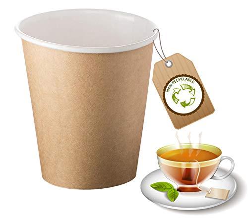 cubex professional Lot de 500 gobelets en carton pour café eau ou boissons chaudes et froides (Havane, 240 ml)