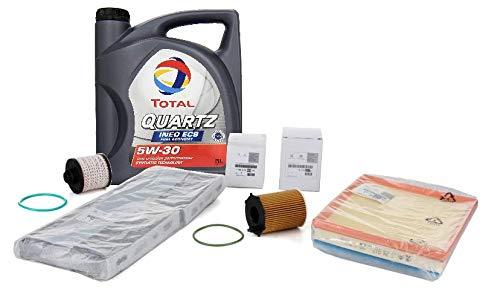 Citroen Peugeot Kit filtros Originales Motor 1.6BlueHV 2013- y aceiteTotal Quartz Ineo ECS 5W-30 Acea C2, 5 litros
