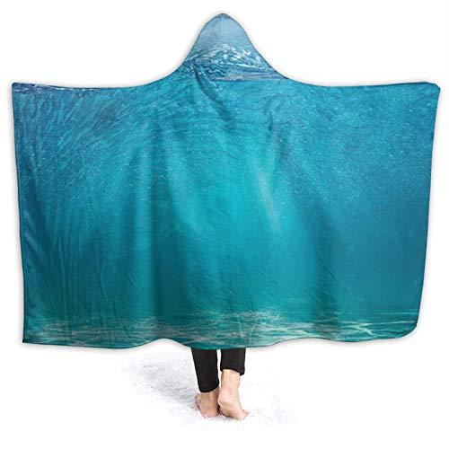 SUHETI Tragbare Hoodie Decke,Ocean Scenery Wellige Oberfläche Tropical Seascape Heller Kiesboden mit Abyss Underwater Fish Shoal und Shark,Umhang Druck Grafik warm für den Winter 80 * 60