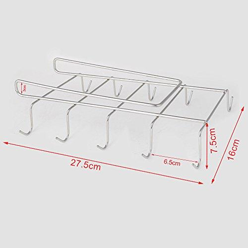 Scorpiuse1_jpキッチンフックカップハンガー戸棚下キッチンツールフック10コップの収納マグカップホルダー吊り下げ穴あけ不要ネジ止め不要ステンレス製