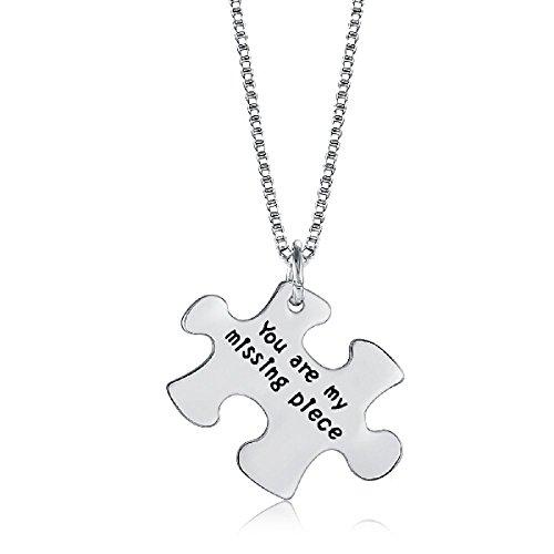 Zilveren-Toon 'U Zijn Mijn Missend Stuk' Gegraveerd Hanger Ketting 1.7 x 2.5cm Met 18 Inch Keten Jigsaw Puzzel