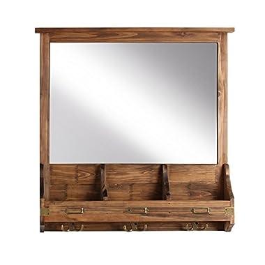 Kate and Laurel 209304 Stallard Decorative Rustic Wood Mirror Wall Home Organizer,Rustic Brown