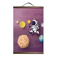 カスタムベビーキッズルームロケット宇宙飛行士キャンバス黒クルミ掛軸絵画壁アートポスター家の装飾ペンダント-40x60cm_p027-1-9