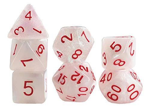 Polyhedral DND Dice Set Pearl Dice for Dungeons and Dragons, Pathfinder, D&D, RPG, MTG,7-Die Set Role Playing Games Dice(with Glitter) …