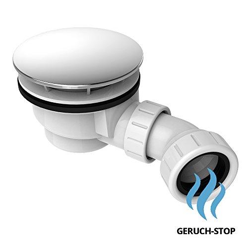 Ablaufgarnitur für Duschtasse AGD02 mit Ablaufbogen | mit Geruchsverschluss und verchromten Deckel | für Duschwannen mit Ablaufloch Ø 90mm