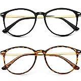 Blue Light Blocking Glasses Women/Men,Round Computer Lightweight Eyeglasses Frame Metal Legs, Reading Gaming Glasses