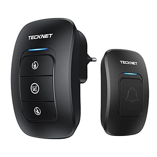 Campanelli Wireless, TECKNET Campanello Senza Fili Portatile Wireless Doorbell, Indicatori LED, 250M Operativo a grande Distanza, 4 Volumi Selezionabili, Italia Spina (1xTrasmettitore e 1x Ricevitore)