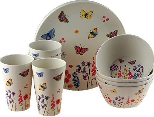 12 Piece Butterfly Bamboo Eco Friendly Complete Plate Bowl Cup Set
