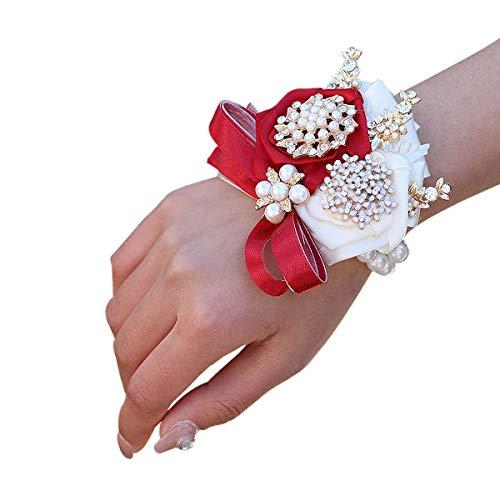 weichuang Pulsera de flores de muñeca para dama de honor, pulsera de flores con lazo, flores y perlas, regalo para novia, flores, boda, accesorios de muñeca (color: rojo vino, muñeca: 7 cm)