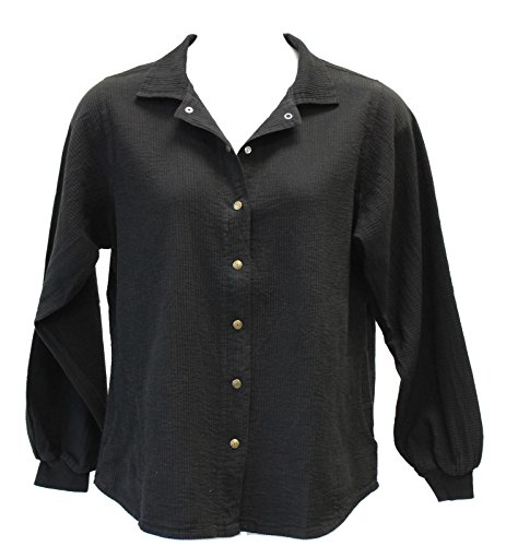 Ezze Wear Women's Cord Cotton Long Sleeve Snap Shirt L XL 1X 2X (2X, Black)
