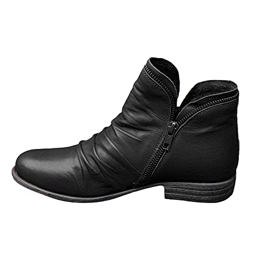 seanxw Short Boots for Women Ankle Booties, Pointed Toe Low Heel Platform Boots Side Zipper Dressy Booties Casual Hiking Shoes Winter Autumn Retro Ankle Boots