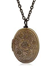 Fajewellery Retro Medallon Corazón/Biblia/Óvalo Colgante Collar para 2 Fotos Cadena Larga Collar