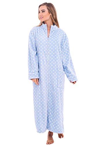 Alexander Del Rossa Women's Zip Up Fleece Robe, Warm Loose Bathrobe, 1X-2X Light Blue with White Dots (A0300P142X)