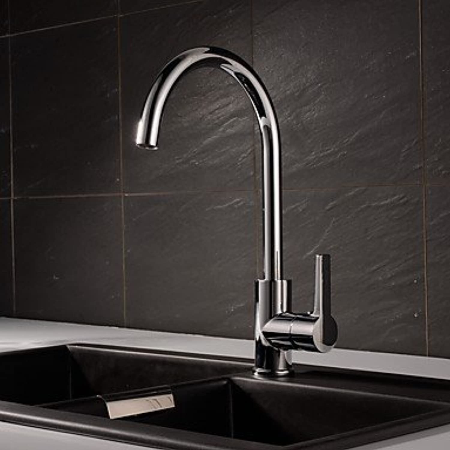FYios?Contemporary Modern Style Centerset High Quality withCeramic Valve Chrome , Kitchen faucet