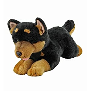 Bocchetta Plush Toys Gadget Australian Kelpie Dog Lying Stuffed Animal Toy Small Black and tan, 28cm/11 3