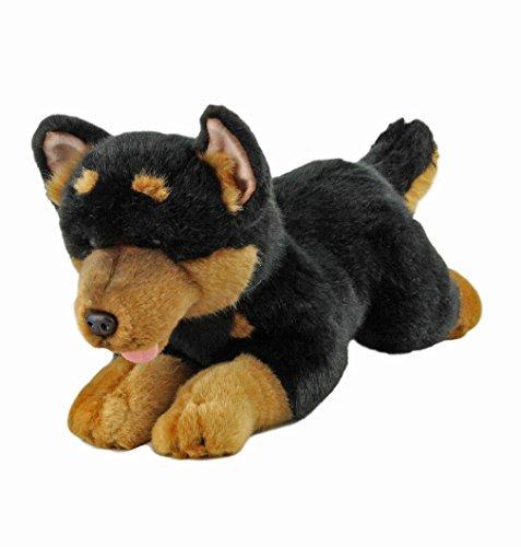 Bocchetta Plush Toys Gadget Australian Kelpie Dog Lying Stuffed Animal Toy Small Black and tan, 28cm/11 1