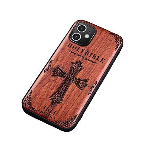 pengge Estuche De Madera para Teléfono De Madera para iPhone 12 Pro, Exclusivo Caja De Madera De Alto Perfil De Perfil Bajo, Fanáticos del iPhone, Bible 1611