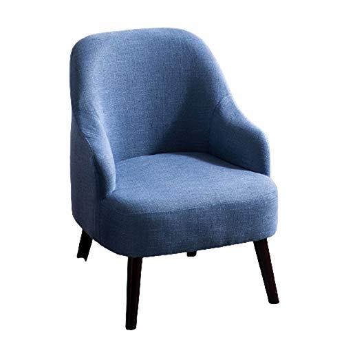 Silla de Estilo Moderno, sofá de Madera Maciza, sillón cómodo, sillón de balcón, Asiento tapizado, Mini sofá,Cotton Linen Blue